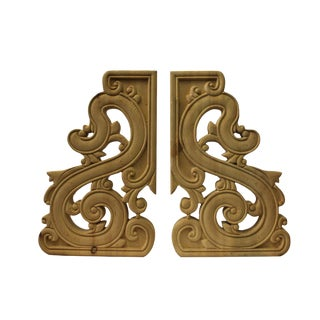 Chinese Scroll Motif Wood Carving Corner Wall Panel Plaques - A Pair For Sale