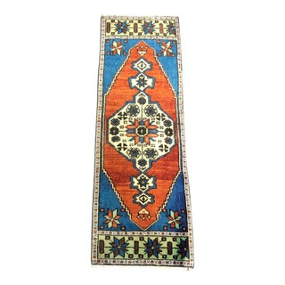 Antique Turkish Anatolian Decorative Runner Small Rug - 1′3″ × 3′8″ For Sale