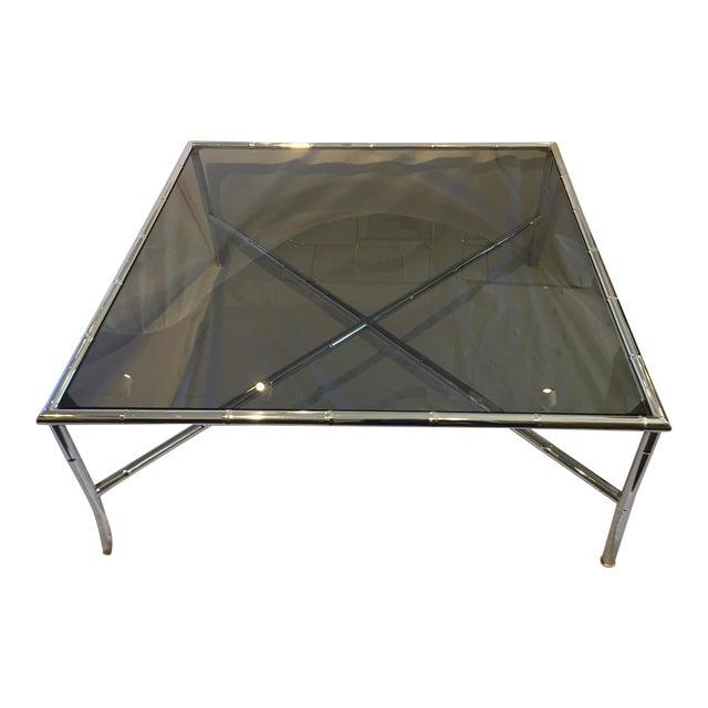 Milo Baughman Style Hollywood Regency Chrome Table For Sale