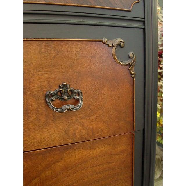 Vintage Flame Walnut & Black Highboy Dresser - Image 9 of 10