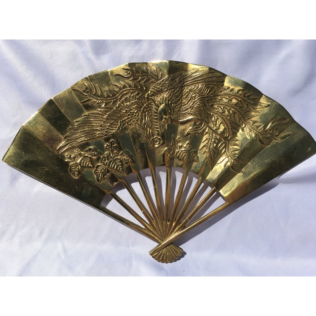 Vintage Brass Chinoiserie Wall Hanging Fan Art - Image 3 of 8