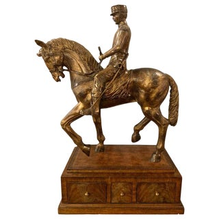 Maitland Smith Civil War Sculpture, General on Horse, Complete Three-Drawer Box For Sale