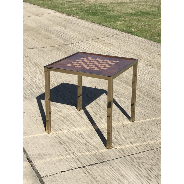 Hollywod Regency Brass and Burl Wood Backgammon Chess Game Table For Sale In Dallas - Image 6 of 13