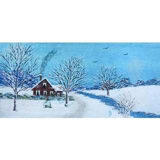 Tiny Snow Covered Red Farmhouse Watercolor Painting For Sale