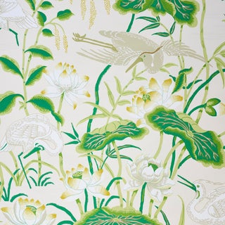 Schumacher Lotus Garden Wallpaper in Leaf (9 Yards) For Sale