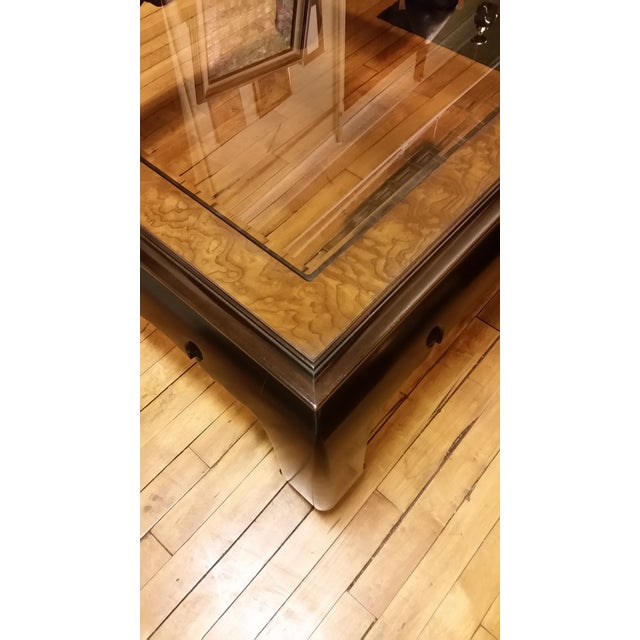 1970s 1970s Regency Kang Style Square Wood Coffee Table For Sale - Image 5 of 8