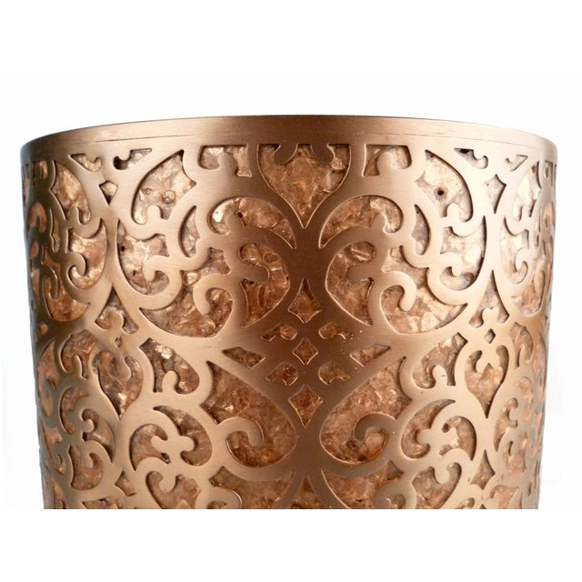 Decorative Capiz Shell & Metal Wastebasket For Sale In Miami - Image 6 of 9