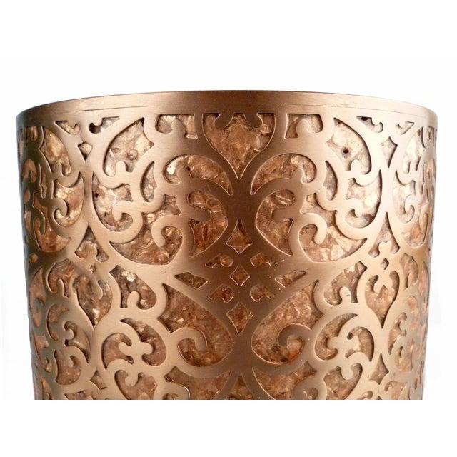 Decorative Capiz Shell & Metal Wastebasket - Image 6 of 9