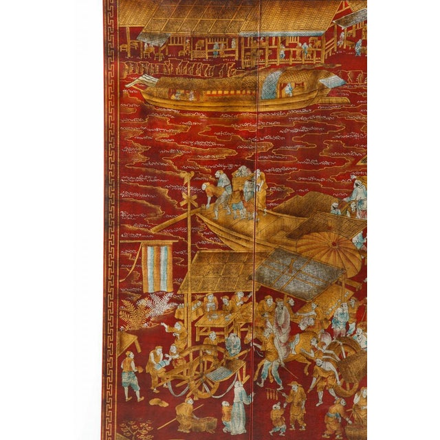 Chinoiserie Series of Six Red Lacquered Chinoiserie Panels For Sale - Image 3 of 11