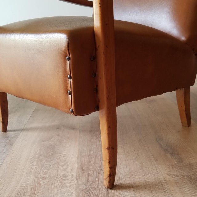 Brown Mid 20th Century Italian Mid-Century Modern Leather Lounge Chairs With Rivets - a Pair For Sale - Image 8 of 13