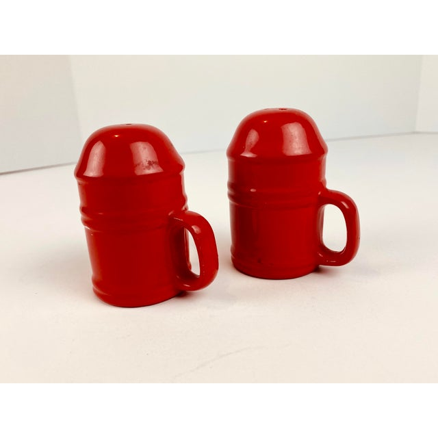 Mid 20th Century Mid-Century Modern Vintage Japanese Glazed Red Ceramic Salt and Pepper Shakers - a Pair For Sale - Image 5 of 10