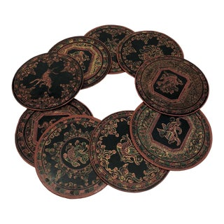 Vintage Burmese Yun-De Lacquer Coasters - Set of 9 For Sale
