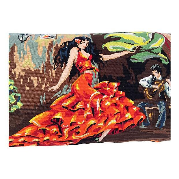 Custom body pillow made with a hand-done vintage tapestry featuring Flamenco dancers with a senorita at the center....