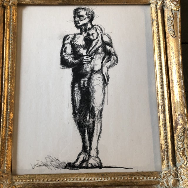 Original charcoal drawing on paper unsigned sketch 10 x 12 overall size with vintage frame is 13 x 15