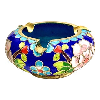Vintage Chinoiserie Cloisonné Ashtray For Sale