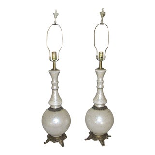 1950's Reverse Painted Lamps - a Pair