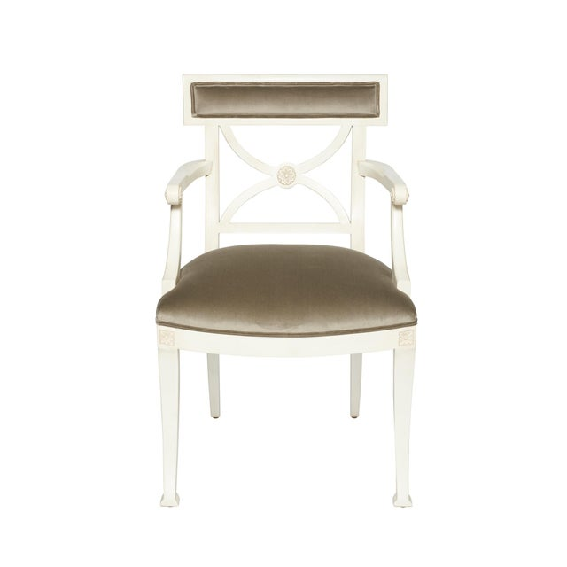 White Schumacher Westminster Gainsborough Velvet Grey Hand-Carved Beechwood Armchair For Sale - Image 8 of 9