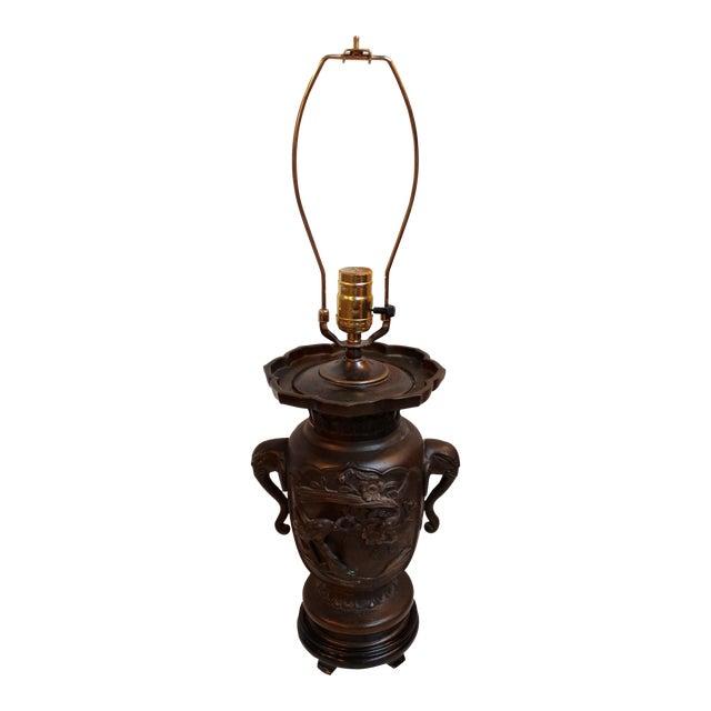 Vintage Japanese Bronze Vase Lamp - Image 1 of 8