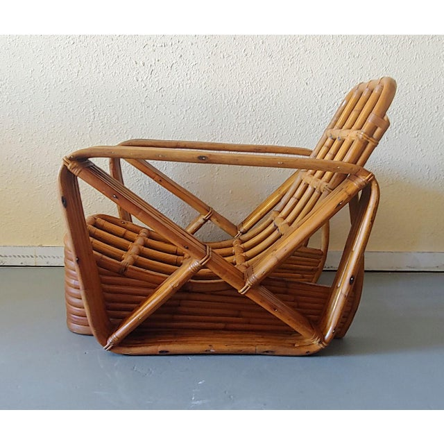 Mid-Century Modern Mid 20th Century Paul Frankl Style Swoop Seat Rattan Lounge Chair For Sale - Image 3 of 13