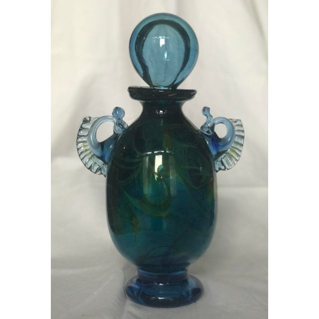 Vintage Handblown Glass Decanter in Blue and Emerald With Spherical Top - Image 11 of 11