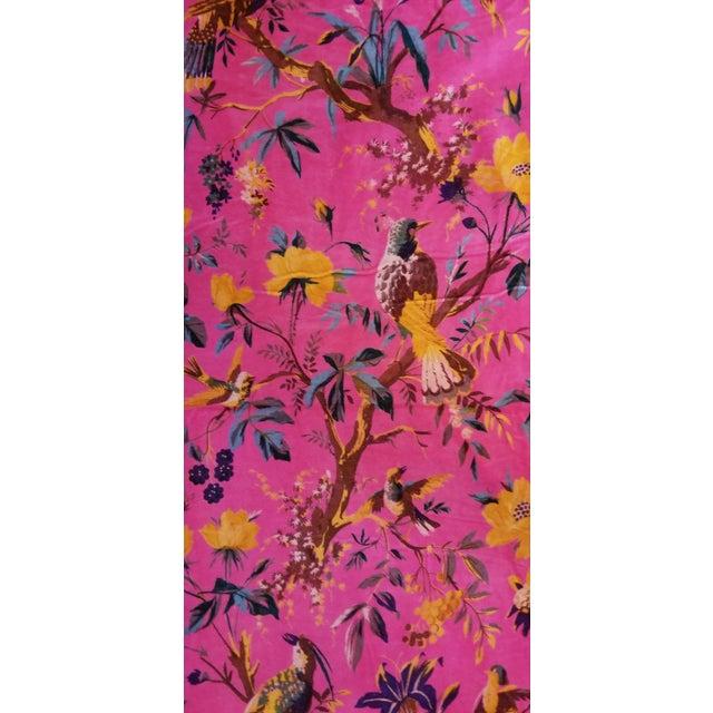 5 yards 45 inches wide super soft, thick plush Hackneyish cotton upholstery velvet . Amazing vibrant chinoiseri design of...