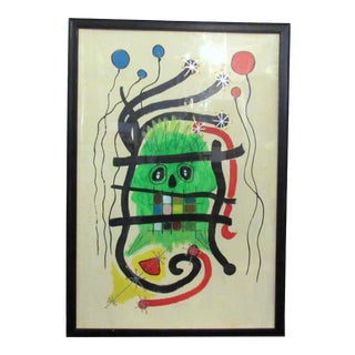 """Framed Abstract Painting Signed """"Zumba"""" For Sale"""