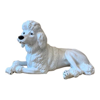 Mid Century Italian White Poodle Statue For Sale