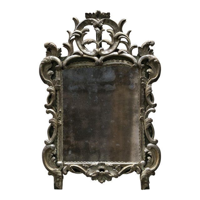Rare 18th Century Louis XV Mirror Silver Leaf Gilded For Sale