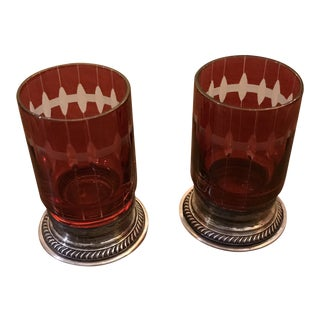 Cranberry Glass With Sterling Base - a Pair For Sale