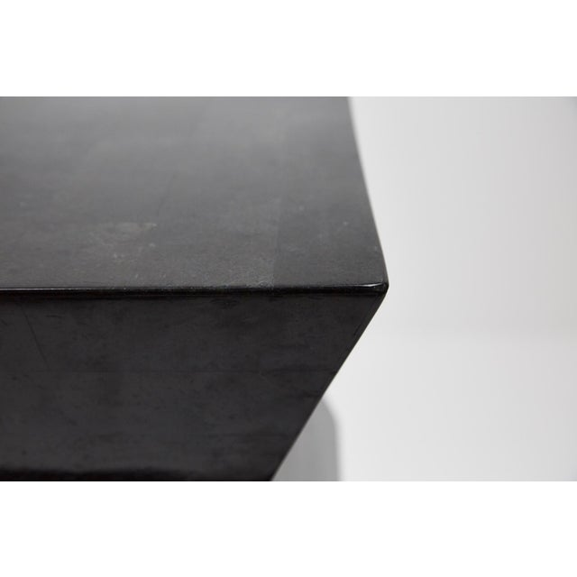 1990s 1990s Vintage Oversized Postmodern Tessellated Black Stone Accordion Pedestal For Sale - Image 5 of 13