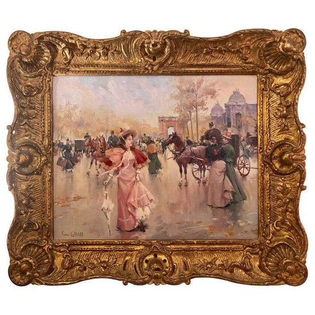 French Oil on Canvas by Karine Girard 'French 1965' or a Paris Street Scene For Sale - Image 13 of 13