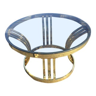 Milo Baughman Brass & Smoked Glass Round Coffee Table For Sale