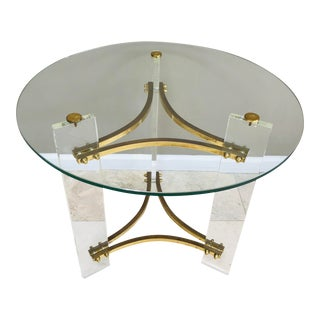 1970s Charles Hollis Jones Lucite Brass Glass Side Table For Sale