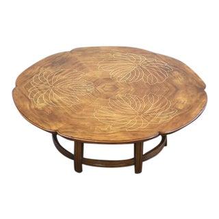 John Widdicomb Walnut and Inlay Scalloped Coffee Table Mid Century For Sale