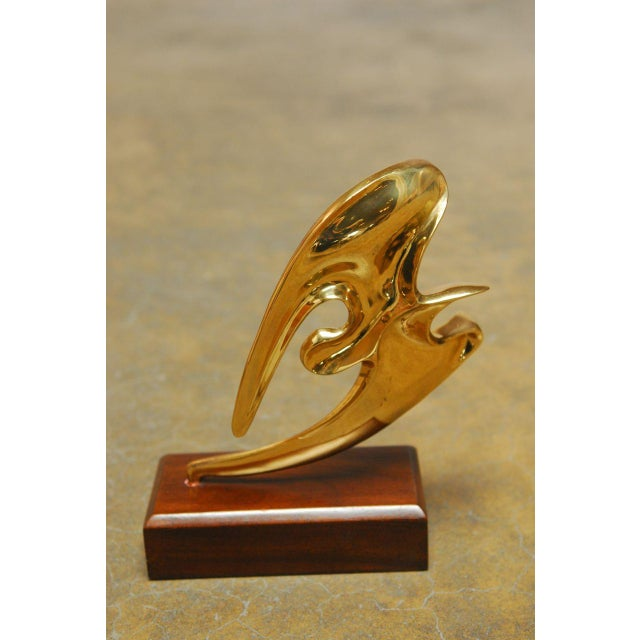 Mid-Century Brass Seagull Sculpture on Stand For Sale - Image 7 of 7