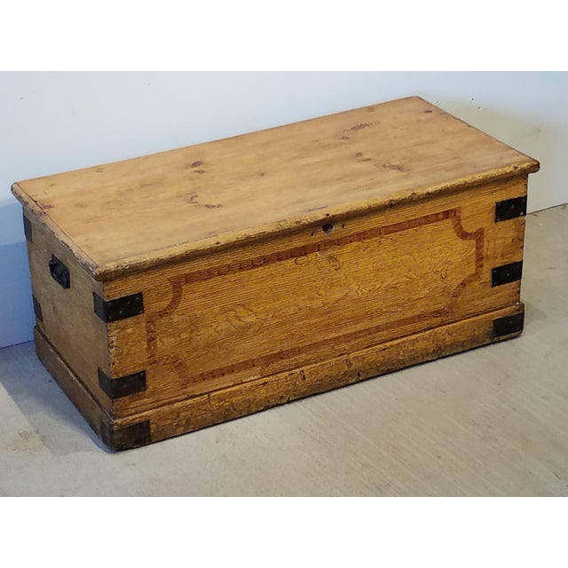 Late 19th Century Antique Pine Trunk With Original Hardware For Sale - Image 12 of 13