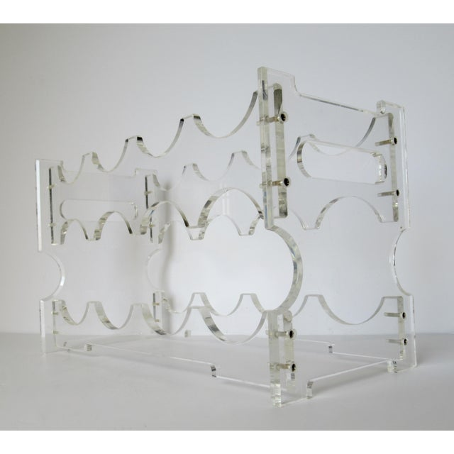 1960s-70s; Vintage Lucite, wine bottle rack, for any kitchen, counter, bar or social gathering place, and/or wet bar, man...