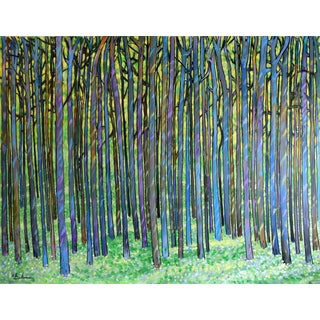 """Large Peaceful Forest"" Painting by Geoff Greene For Sale"