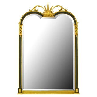 Empire Revival Parcel-Gilt and Black Lacquer Wall Mirror For Sale