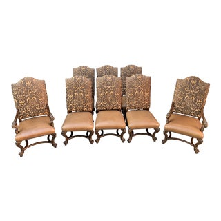 Marge Carson Carved Italian Designer Renaissance Dining Chairs- Set of 8 For Sale