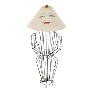 John Risley 1960's Figure Lamp With Original Shade For Sale