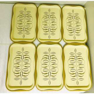 1950s Vintage Regency Style Metal Snack Trays - Set of 6 Preview