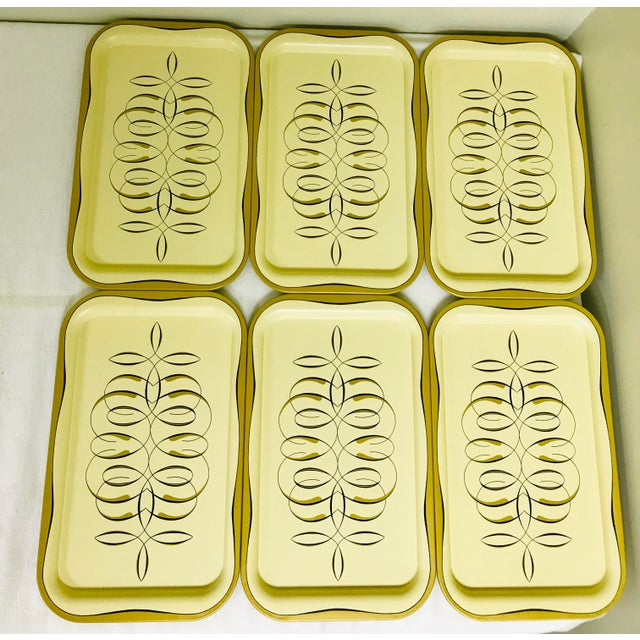 1950s vintage metal snack trays, set of 6.
