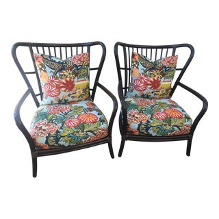 Modern McGuire Club Chairs- A Pair For Sale