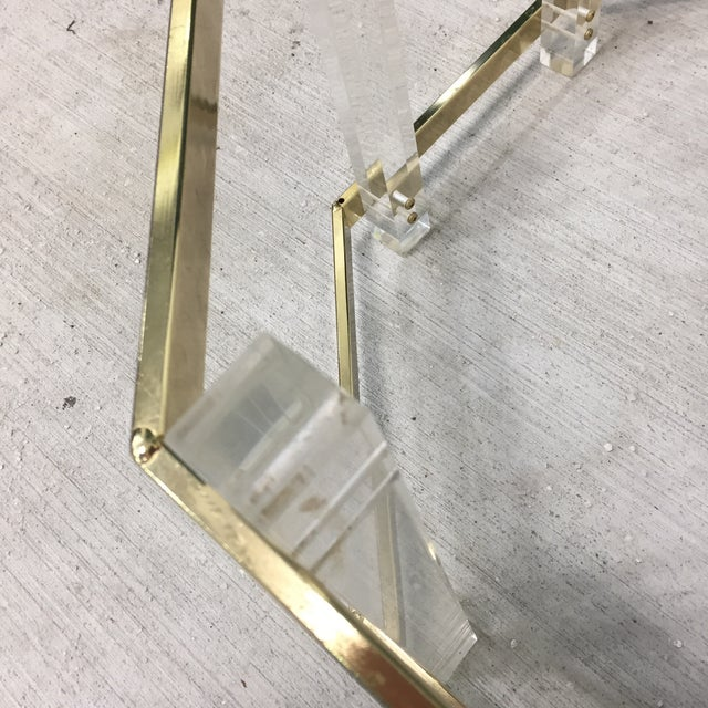 1960s Vintage Mid-Century Lucite Brass Octagonal Coffee Table Base For Sale - Image 5 of 9