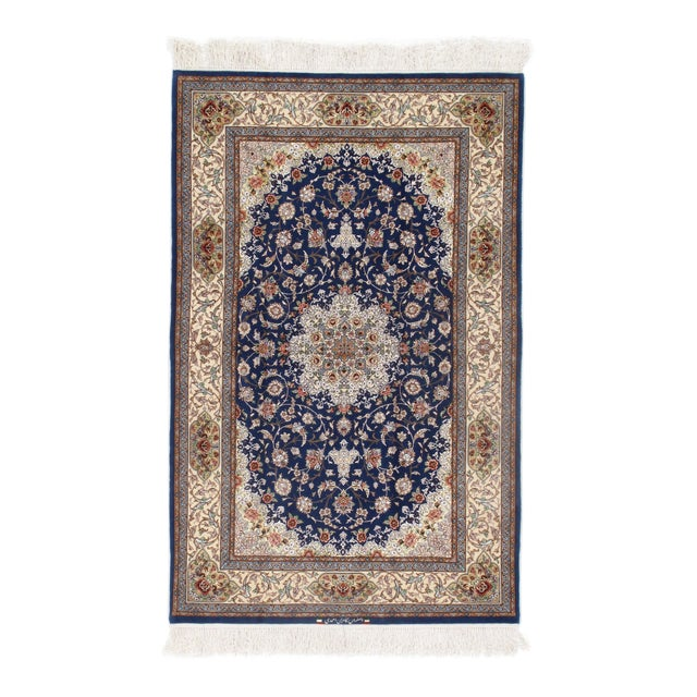 Pasargad Persian Isfahan Korker Wool & Silk Highlighted Rug - 4′2″ × 6′7″ For Sale