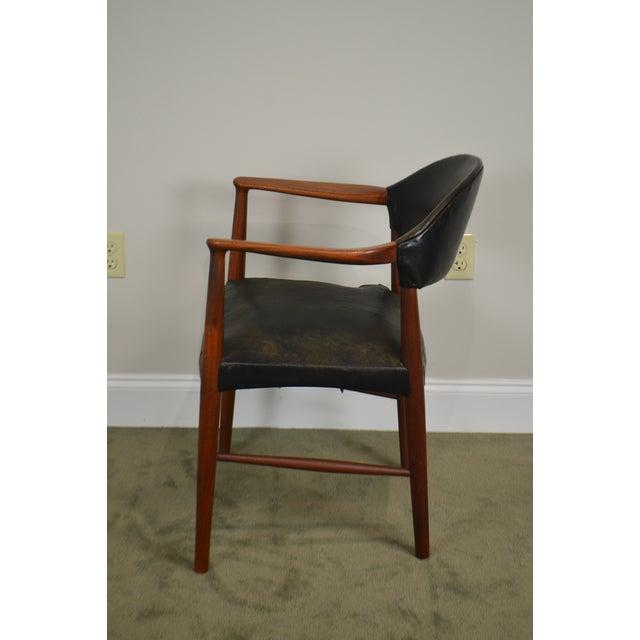 1950s Danish Modern Teak & Black Leather Vintage Arm Chair For Sale - Image 5 of 13
