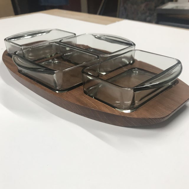 Mid-Century Modern 1970s Danish Brostrom Design Teak Serving Tray With Glass Inserts - 5 Pieces For Sale - Image 3 of 6