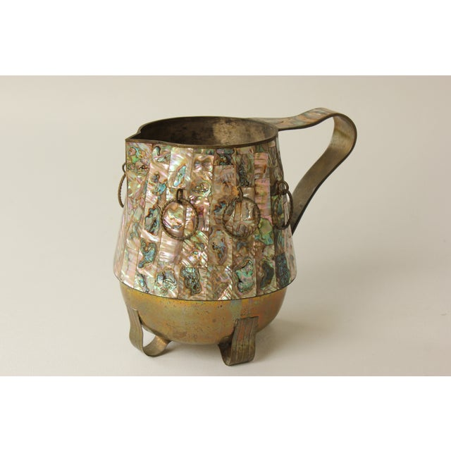 Salvador Teran Abalone Shell & Brass Pitcher - Image 4 of 7