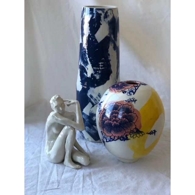 2010s Tall Cobalt Criss Cross Slip Vase For Sale - Image 5 of 6